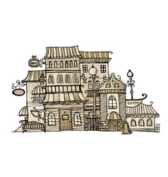 Cartoon sepia drawing town vector