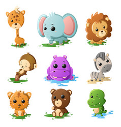 Cartoon wildlife animal icons vector