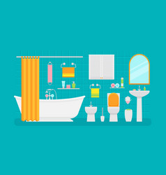 ceramic bathroom interior in vector image