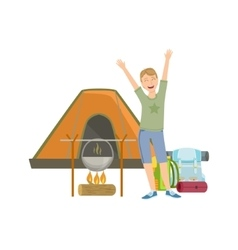 Cheerful Man With Tent Bonfire And Backpack vector image