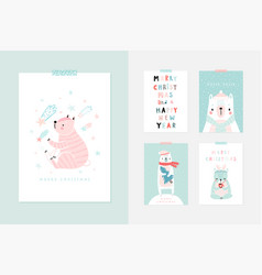 christmas card set with cute bears celebrating vector image
