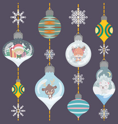 christmas greeting with lovely ornamental baubles vector image