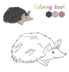 Coloring book hedgehog kids layout for game vector