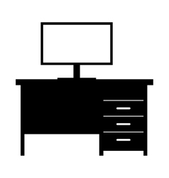 Computer desk simple icon vector image