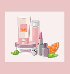 Cosmetics set package hydration cream and vector
