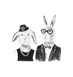 couple bunnies hipsters vector image