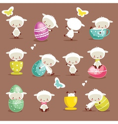 Cute easter character set vector image