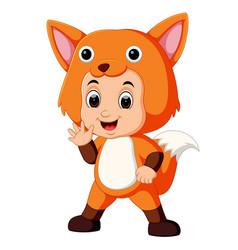 cute kids cartoon wearing fox costume vector image
