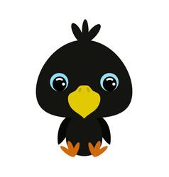 Cute little sitting raven vector