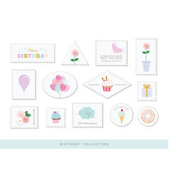 cute postage stamps for birthday or scrapbook vector image