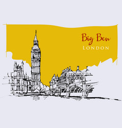 Drawing sketch big ben vector