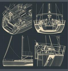 drawings sailing yacht vector image