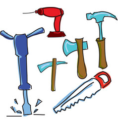 Drawn colored working tools vector