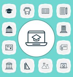 Education icons set with school building school vector