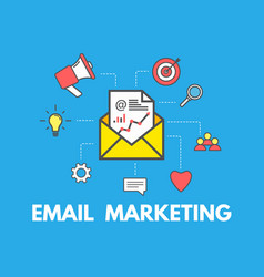email marketing concept on blue background email vector image