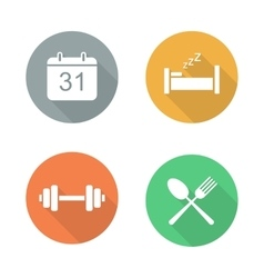 Everyday activities flat design icon set vector