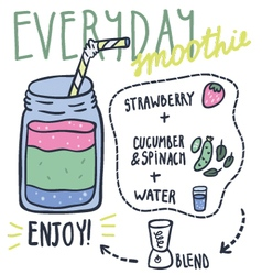 Everyday hand drawn smoothie recipe vector image