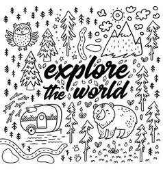 Explore the world cartoon contour map comic vector
