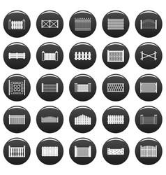 fence icons set vetor black vector image