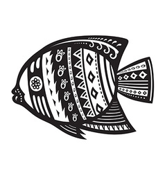 Fish with ornaments in the ethnic style vector