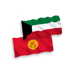 Flags kyrgyzstan and kuwait on a white vector