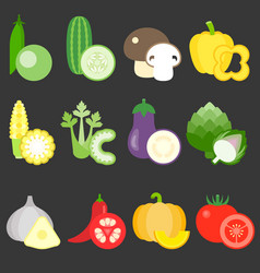 flat design vegetables icons set 2 vector image