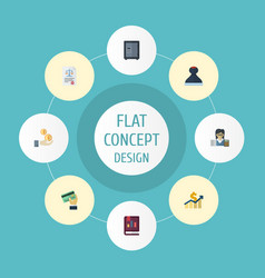 Flat icons profit net income safe and other vector
