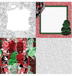 Frames and backgrounds patterns in the polynesian vector