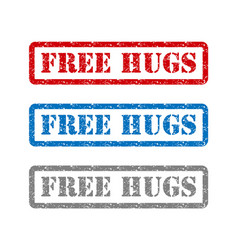 Free hugs set rubber stamp isolated on background vector