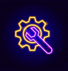 gear wrench neon sign vector image