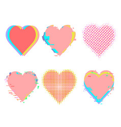 Glitch noise distortion and halftone hearts set vector