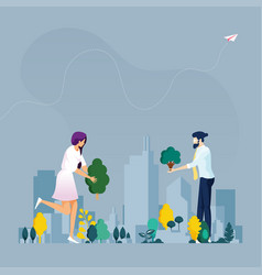 green city ecology concept vector image