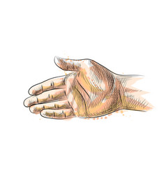 hand gesture stretching hand to handshake from a vector image