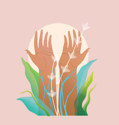 Hand palms and arms raised pray for nature vector
