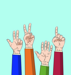 hand thump up show number one to five vector image