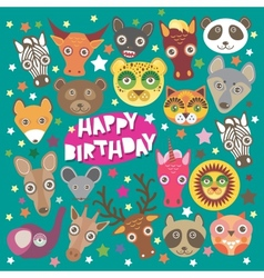Happy birthday card funny animals muzzle Teal vector image