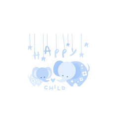Happy child cute kids poster with an elephant in vector