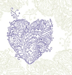 Happy heart doodle ornament in entangle style vector