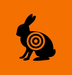hare silhouette with target icon vector image