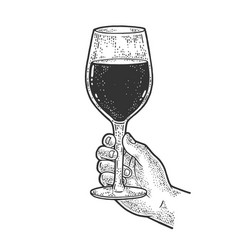huge glass with wine in hand sketch vector image