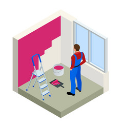 Isometric paintroller painting white wall with vector