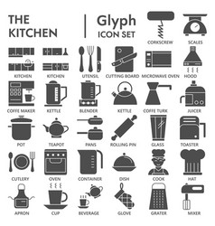 kitchen glyph icon set cooking symbols collection vector image