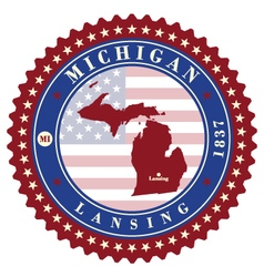 Label sticker cards of state michigan vector