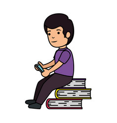 Little schoolboy with smartphone and books vector