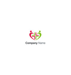 love people hospital cross sign logo vector image