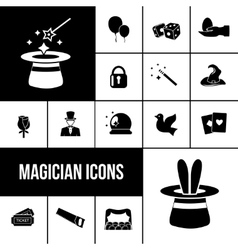 Magician icons black set vector image