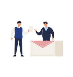 male elector give ballot or voting choosing vector image