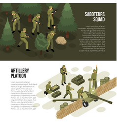 military horizontal banners collection vector image