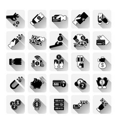 money icons set mobile banking contactless payment vector image