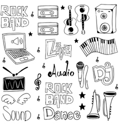 Music tools doodles hand draw vector